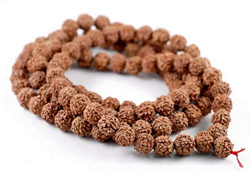 (Bead Jewelry Making 8mm Natural Rudraksha Bodhi Seed Mala Meditation 108 Beads Red Brown Round 35