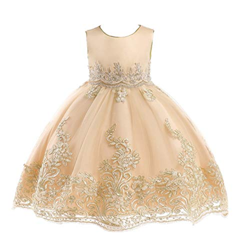 JIANLANPTT Girls Summer Evening Party Gown Dress Elegant Lace Beauty Princess Flower Girls Dress 4-5Years Champagne 5