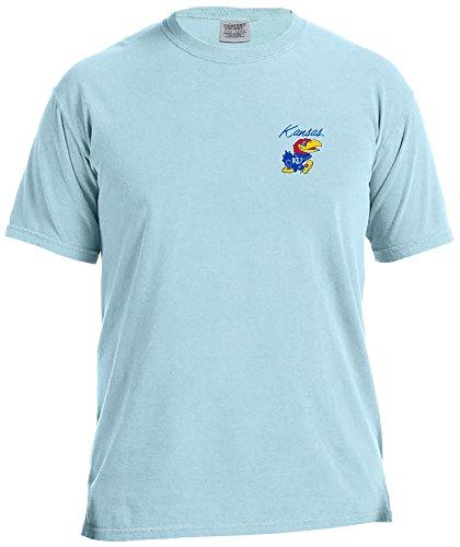 NCAA Kansas Jayhawks Adult Unisex NCAA Marquee Comfort Color Short sleeve T-Shirt,Medium,Chambray