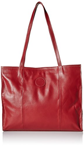 (Piel Leather Carry-All Market Bag, Red, One Size)