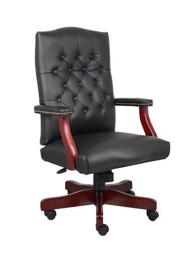 (Boss Office B905-BK Classic Black Caressoft Chair With Mahogany)