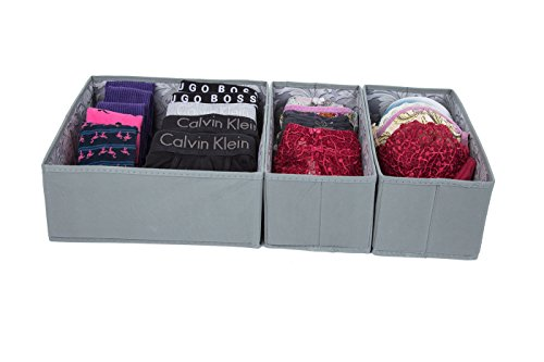 - SbS Fabric Dresser, Drawer, Closet Organizer Boxes Cubes Bins. Store socks ties underwear gloves bras tights bibs and diapers - Spanish Gray, Feather Leaf Interior- 3 Pack (1 Large and 2 Medium Boxes)