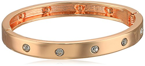 Guess Narrow Hinge with Crystal Rose Gold Bangle Bracelet - Guess Gold Bracelet Jewelry