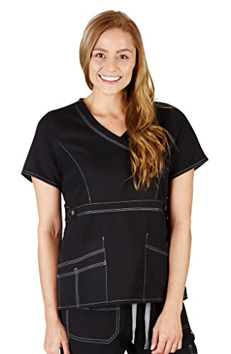 M&M Scrubs Women's Super Soft, Comfort Stretch Mock Wrap Top L Black / Grey (Contrast Stretch Scrub Top)