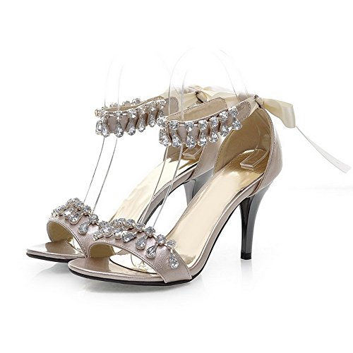 VogueZone009 Womens Open Toe High Heel PU Patent Leather Solid Sandals with Glass Diamond Gold 8KjLG