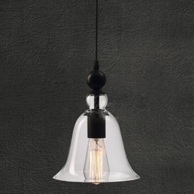 Fei Vintage Single Light Mini Pendant With Clear Glass Bell