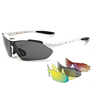 IALUKU Cycling Sunglasses Polarized with 5 Interchangeable Lenses, Sports Sunglasses for Men Women Driving Baseball Fishing Golf (White, 79)