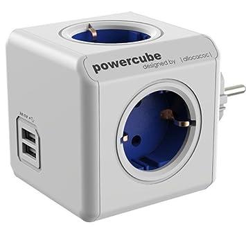 allocacoc PowerCube DuoUSB Extended Rot EU, 4 fach Steckdosenverteiler mit 2,1 A USB Ladestrom, Weiß Rot Power Cube 1402RD/DEEUPC