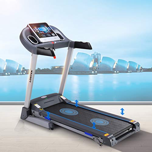 UMAY Space Saving Folding Exercise Treadmill Fitness Electric Motorized Running Machine MP3&Dual Speakers for Volume Adjustment for Home&Gym