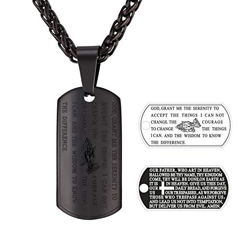 U7 Men Women Black Dog Tags Necklace Engraved with Bible Verse Pray Words Rope...
