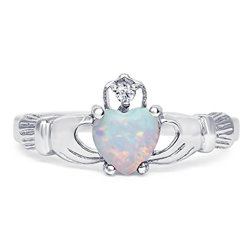 Contemporary Australia Costume Dance (Sterling Silver lab-created White Opal Claddagh Promise Ring For Her)