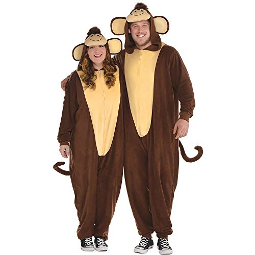 AMSCAN Zipster Monkey One Piece Costume for Adults, Plus Size, with Included Accessories -