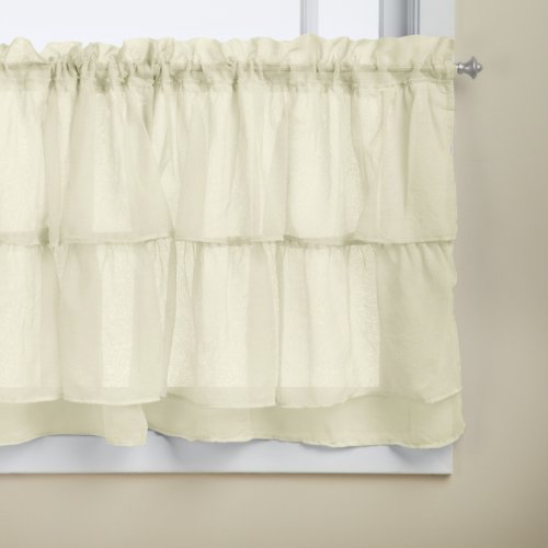 Lorraine Home Fashions Gypsy Shabby Chic Layered Ruffle Window Tier, 60 by 24-Inch, Cream