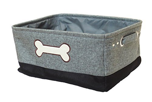 Winifred & Lily Pet Storage Bin with embroidered Dog Bone in Light Gray / Black