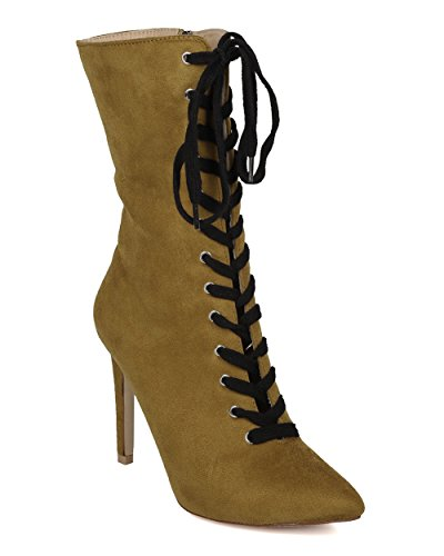 CAPE ROBBIN Women Lace Up Stiletto Boot - Mid Calf Heel Boot - Pointy Toe Boot - HK56 by Olive