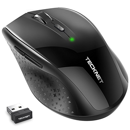 TeckNet Silent Plus Wireless Mouse, 2.4G, USB Nano Receiver, 6 Buttons, 5 Adjustment DPI Level (3000/2000/1600/1200/800), 30 Month Battery Life