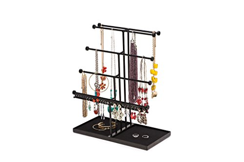Black Extra Large 5 Tier Tabletop Bracelet, Necklace, Earring Display Tree with Velvet Tray – Jewelry Holder Organizer – Ideal Gift - Design (Display Black Velvet 5 Ring)