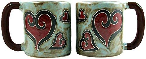 Mara Stoneware Mug - Hearts - 16 oz