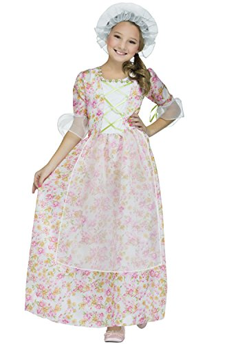Fun World Colonial Girl Costume, Multicolor,