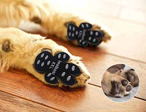 "LOOBANI 48 Pieces Dog Paw Protector Traction Pads to Keeps Dogs from Slipping On Floors, Disposable Self Adhesive Shoes Booties Socks Replacement, 12 Sets for 4 Paws (XXL-2.48""x2.68"", Black)"