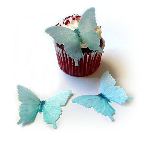 24 Pastel Light Soft Teal Blue Green Edible Wafer Paper Butterflies © Small 1.75