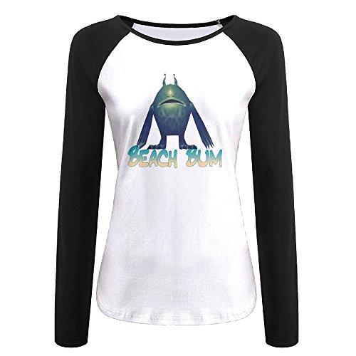 Creamfly Womens Beach Bum Long Sleeve Raglan Baseball Tshirt L (California Tan Lip)