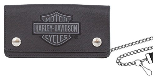 Harley Davidson Embroidered Trucker Wallet XML8705 GRYBLK