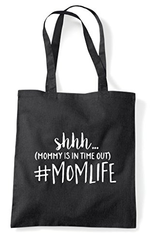 Tote In Mommy Time Momlife Bag Shopper Ssh Hashtag Statement Out Black Is E8qExU6