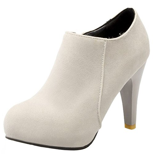 High Fashion Heel Round Block Winter Grey Ankle Women Booties KemeKiss 257 Toe 5qawzWS