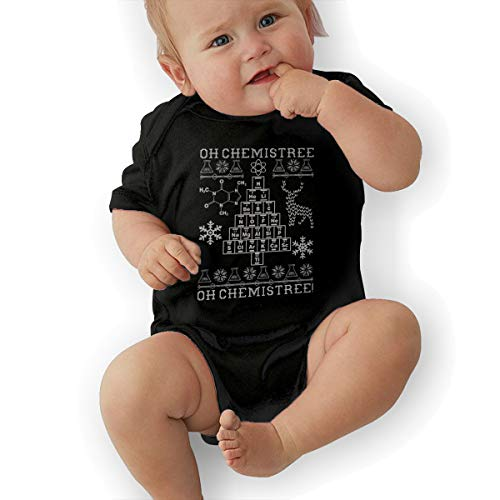 Short Sleeve Cotton Rompers for Baby Boys and Girls, Cute Oh Chemistree, Oh Chemistree! Ugly Christmas Chemistry Crawler Black -