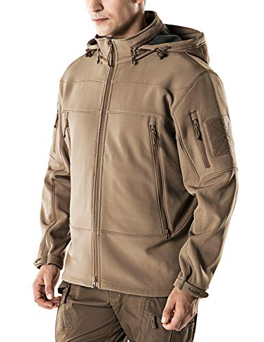 CQR CQ-HOK802-CYT_Large Men's Tactical Softshell Stow-Away Hoodie Hiking Hunting EDC Lightweight Fleece Coat Jacket HOK802