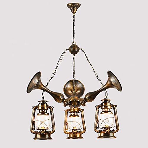 Ganeep Creative Musical Instrument Lantern X- Lights Pendant Lights American Antique Bar Cafe Restaurant Chandelier Retro Personality Industry E27 Ceiling Hanging Lights (Size : Three Heads)
