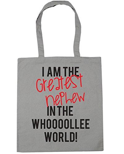 HippoWarehouse I AM THE GREATEST sobrino en el mundo whooooollee. Bolsa de la compra bolsa de playa 42cm x38cm, 10litros gris claro