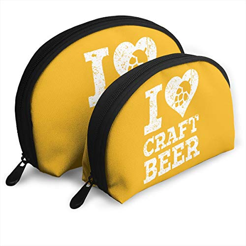 Warm-Tone I Love Craft Beer Big & Small 2 Pieces Pencil Bag Pen Case Multi-Purpose Storage Tools Canvas Bag Portable Travel Toiletry Pouch Cosmetic Makeup Bags with -