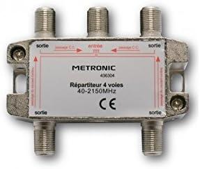 Metronic 436304 - Repartidor de señal TV metálico blindado 4 salidas con toma F, plateado