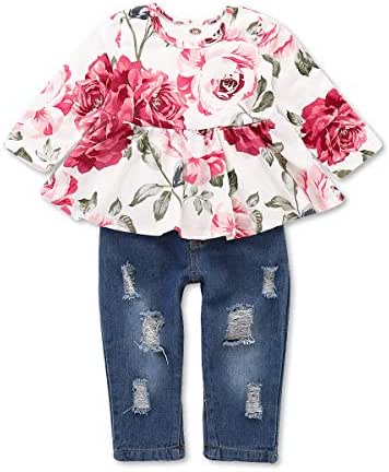 Girls Pants Set Infant Ripped Jeans Floral Long Sleeve T Shirt Tops Toddler Ruffle Outfits for Fall