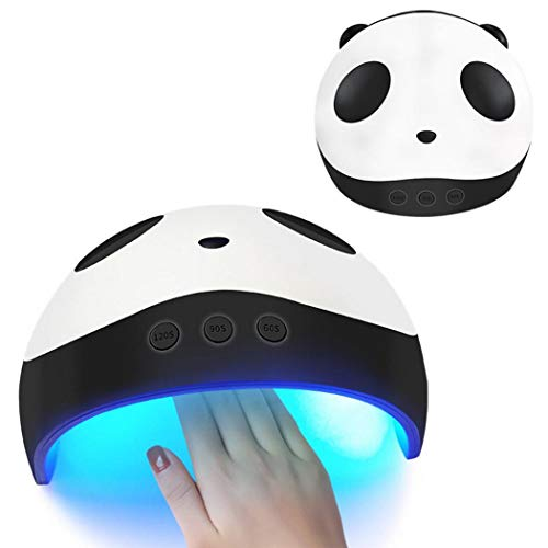 Oguine Nail Dryer,Panda Intelligent 36W LED Light Nail Dryer Curing Lamp for Fingernail & Toenail Gels Based Polishes with Sensor,USB Charge Timing Nail Phototherapy Light (White Black)
