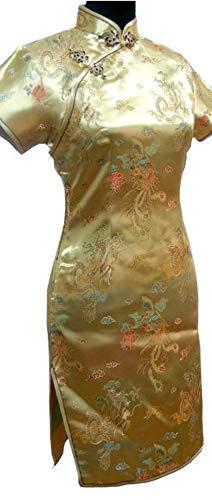着服名前を作る混乱させる中国の女性ショートスタイル女性伝統的なシルクサテンドレスドラゴンサイズS M L XL XXL,ゴールド,XXL