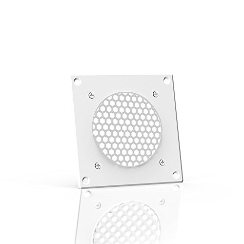 AC Infinity White Ventilation Grille 4, for PC Computer AV Electronic Cabinets, replacement grille for AIRPLATE S1, can mount one 80mm fan