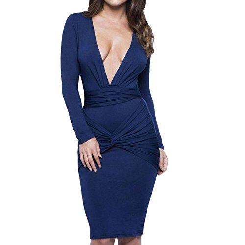 Blue De cuello V Baile Elegante Mujeres Larga Atractivo Chica Alta Manga Cintura Cumpleaños Banquete Boda Vestido AfAZn0qI