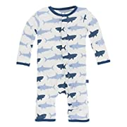 KicKee Pants Print Coverall with Snaps in Natural Megalodon, 0-3M