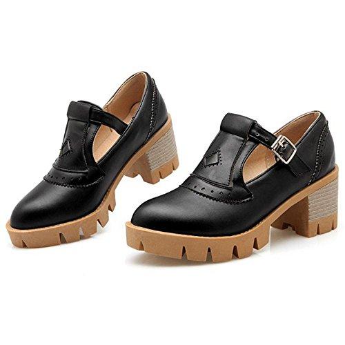 Coolcept Zapatos Moda de Tacon Ancho para Mujer Black