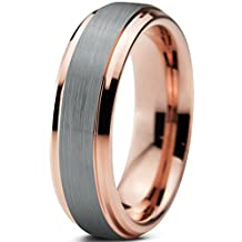 Tungsten Wedding Band Ring 6mm for Men Women Comfort Fit 18K Rose Gold Plated Beveled Edge Brushed Polished Lifetime Guarantee