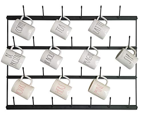 Claimed Corner Horizontal Wall Mug Rack - Large Wall Mounted Storage Display Organizer Rack for Coffee Mugs, Tea Cups, Mason Jars, and More. (33
