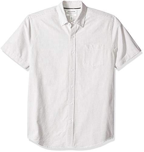 Amazon Essentials Men's Regular-Fit Short-Sleeve Pocket Oxford Shirt, Grey Stripe, Small