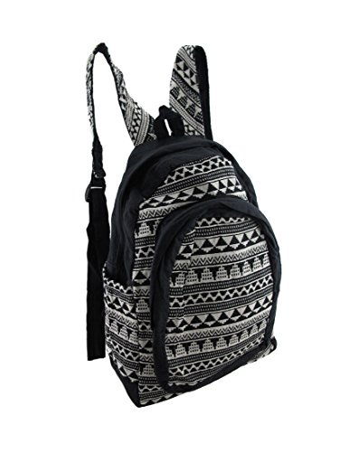 Black and White Aztec Pattern Cotton Tapestry Backpack