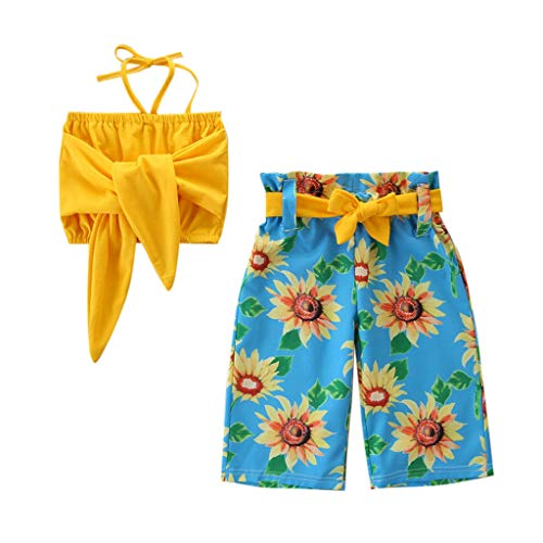Baby Girls Summer Beach Party Outfits, Infant Kids Cropped Camisole Shirt Tube Tops Sunflower Print Flared Pants (Blue, 6-7 Years) – The Super Cheap