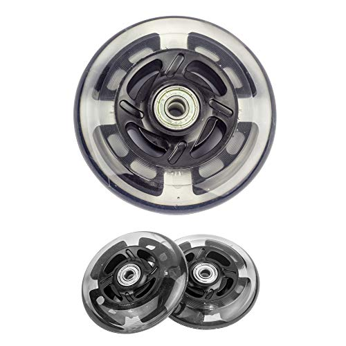 AOWISH 2-Pack 100mm Light Up Scooter Wheels LED Flash Replacement Wheels with Bearings ABEC-7 for Razor Scooters