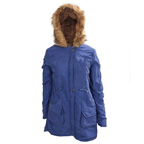 TOOGOO (R)Mujer Abrigo largo de acolchado grueso de invierno de piel encapuchado Ropa exterior Chaqueta -Azul marino-M
