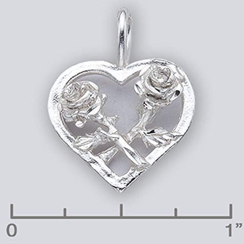 (Sterling Silver Rose & Heart Charm 10105 - Silver Jewelry Accessories Key Chain Bracelet Necklace Pendants)